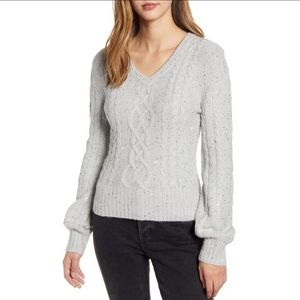 Rachel Parcell Sweater Sequin Cable Glitter